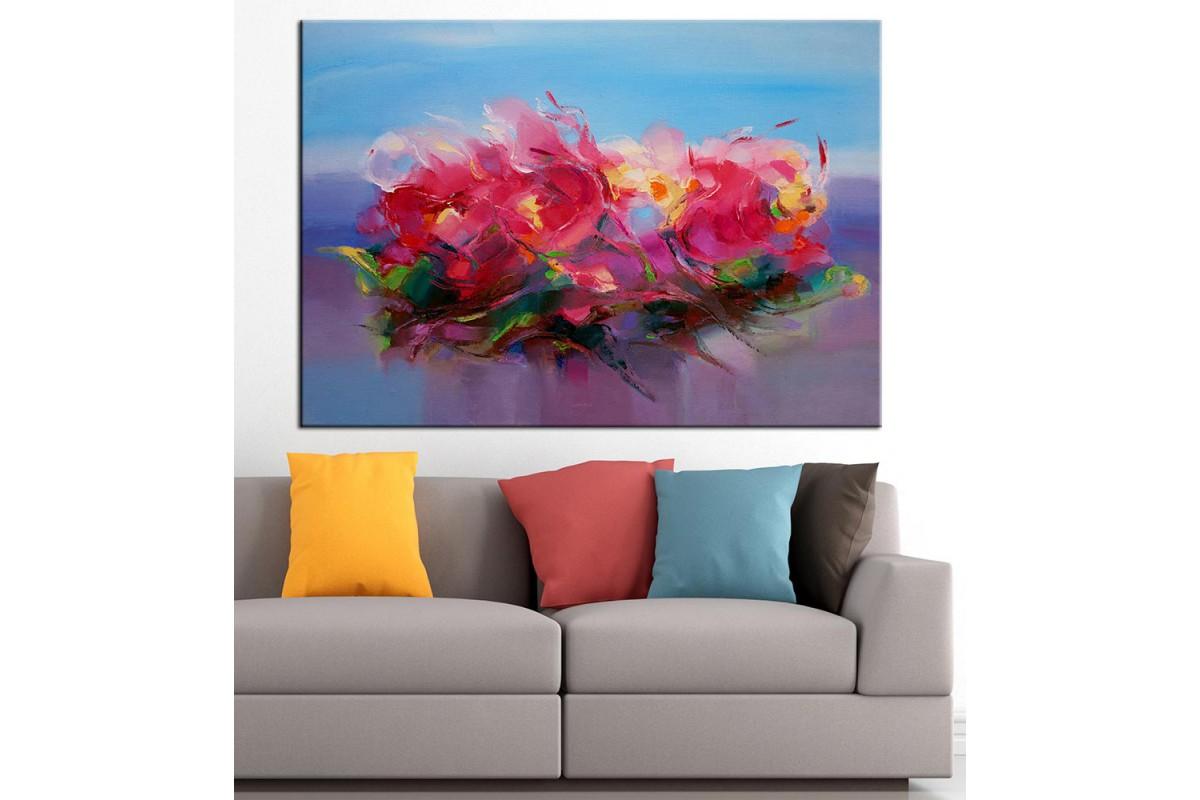 Çiçekler Yağlı Boya Görünüm Kanvas Tablo dkm-k61-48