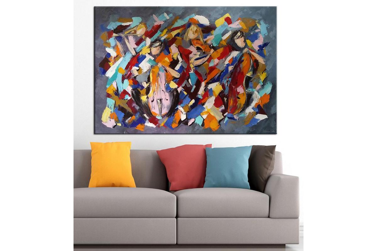 Soyut Müzisyenler Yağlı Boya Görünüm Kanvas Tablo dkm-k61-51