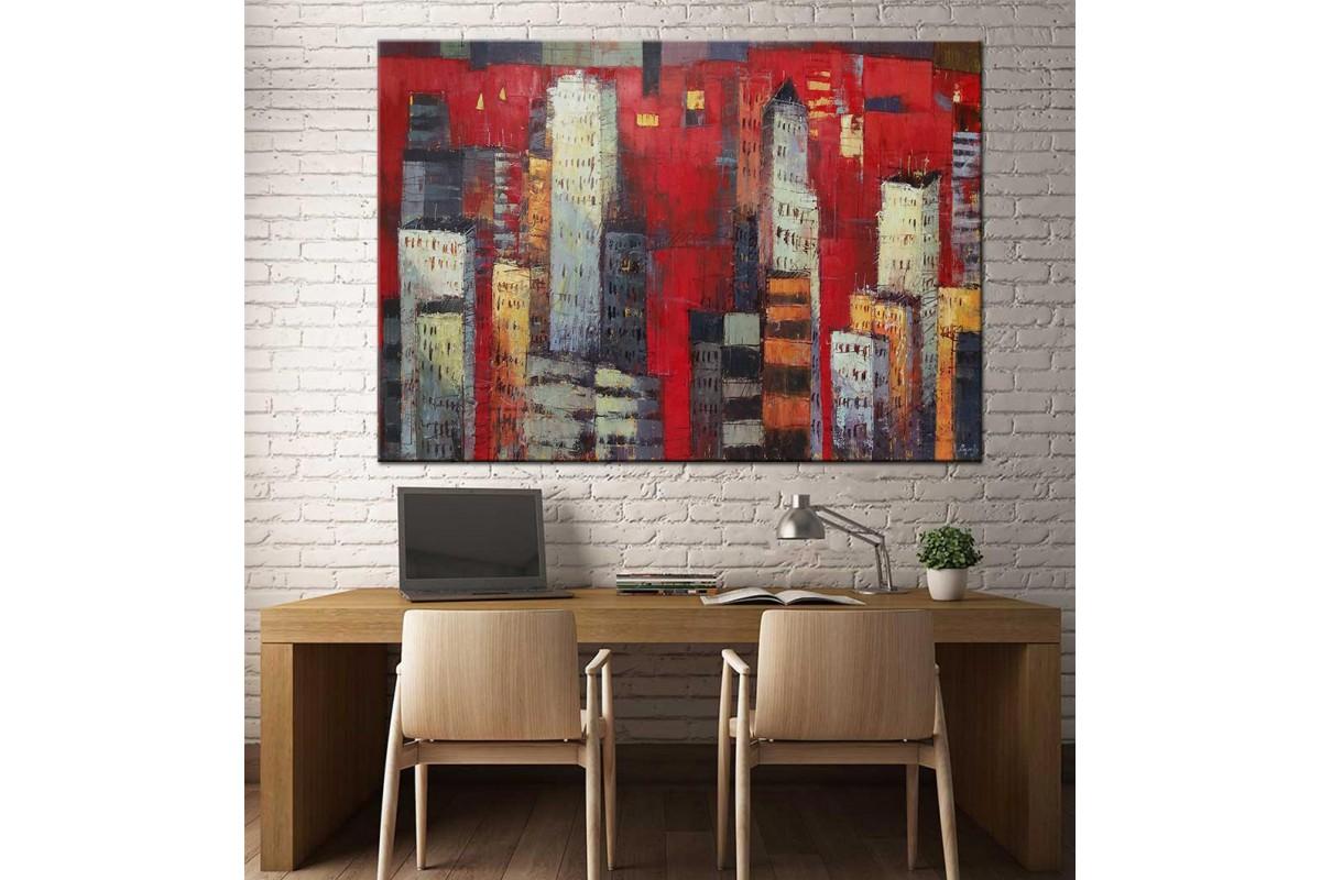 Şehir Binalar Yağlı Boya Görünüm Kanvas Tablo dkm-k61-52