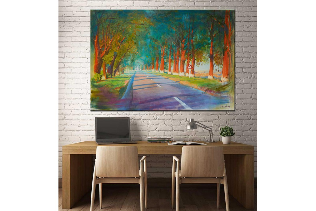 Ormandaki Yol Yağlı Boya Görünüm Kanvas Tablo dkm-k61-56