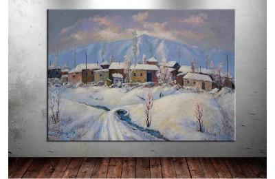 Kar Altında Yağlı Boya Görünüm Kanvas Tablo dkm-k61-65