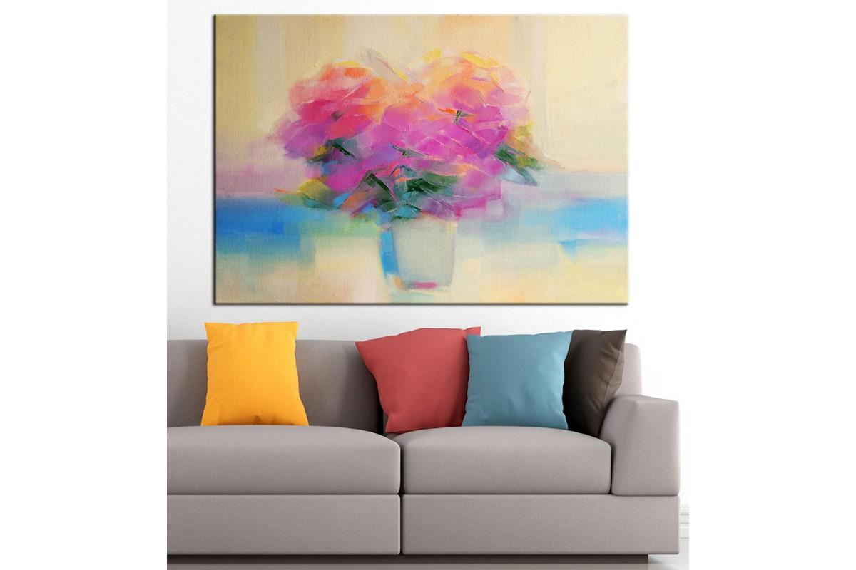 Çiçekler Yağlı Boya Görünüm Kanvas Tablo dkm-k61-67