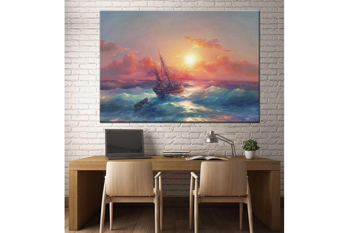Fırtınada Gemi Yağlı Boya Görünüm Kanvas Tablo dkm-k61-70