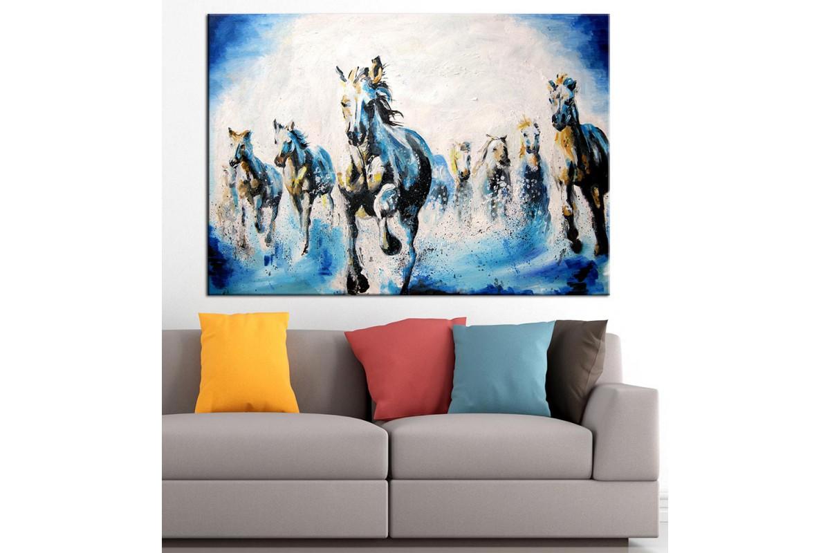 Beyaz Atlar Yağlı Boya Görünüm Kanvas Tablo dkm-k61-72