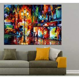 Renkler Şehir Yağlı Boya Görünüm Kanvas Tablo dkm-k61-75