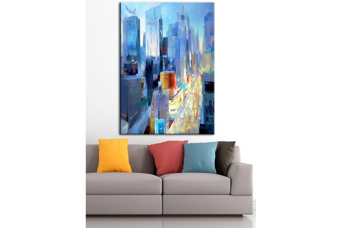 Şehir Trafik Yağlı Boya Görünüm Kanvas Tablo dkm-k61-94
