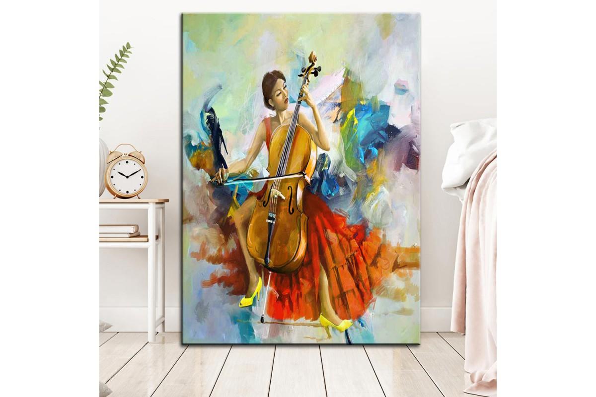 Müzisyen  Yağlı Boya Görünüm Kanvas Tablo dkm-k61-99