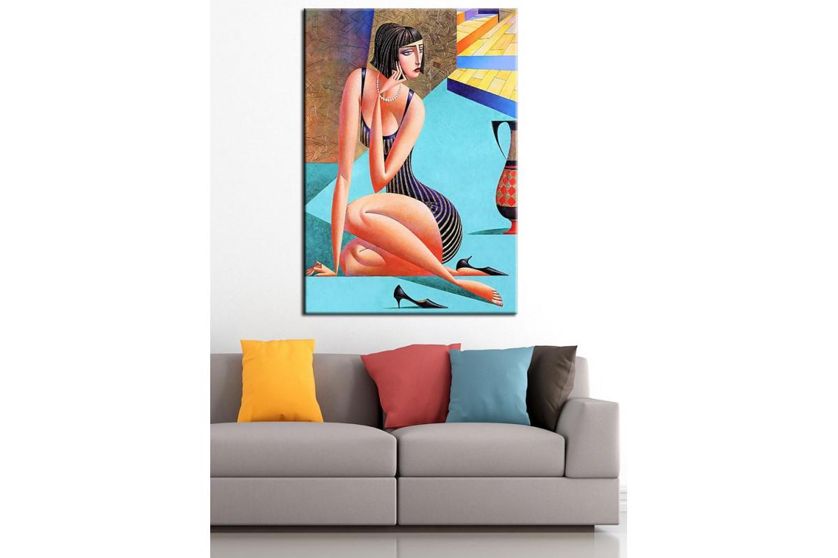 Kadın Kübik Yağlı Boya Görünüm Kanvas Tablo dkm-k63-12