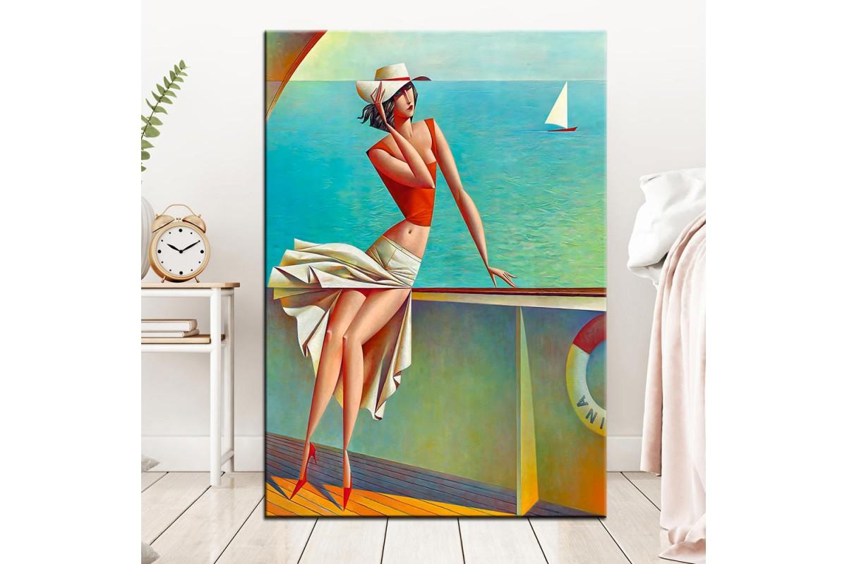Gemideki Kadın Kübik Yağlı Boya Görünüm Kanvas Tablo dkm-k63-13