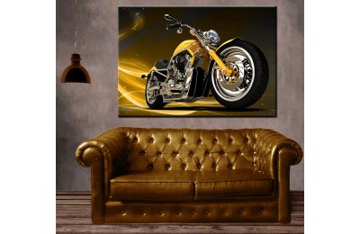 Sarı Fantastik Motosiklet Kanvas Tablo dkm-k63-14