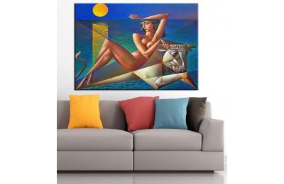 Kadın ve Boğa Nü Kübik Yağlı Boya Görünüm Kanvas Tablo dkm-k63-17