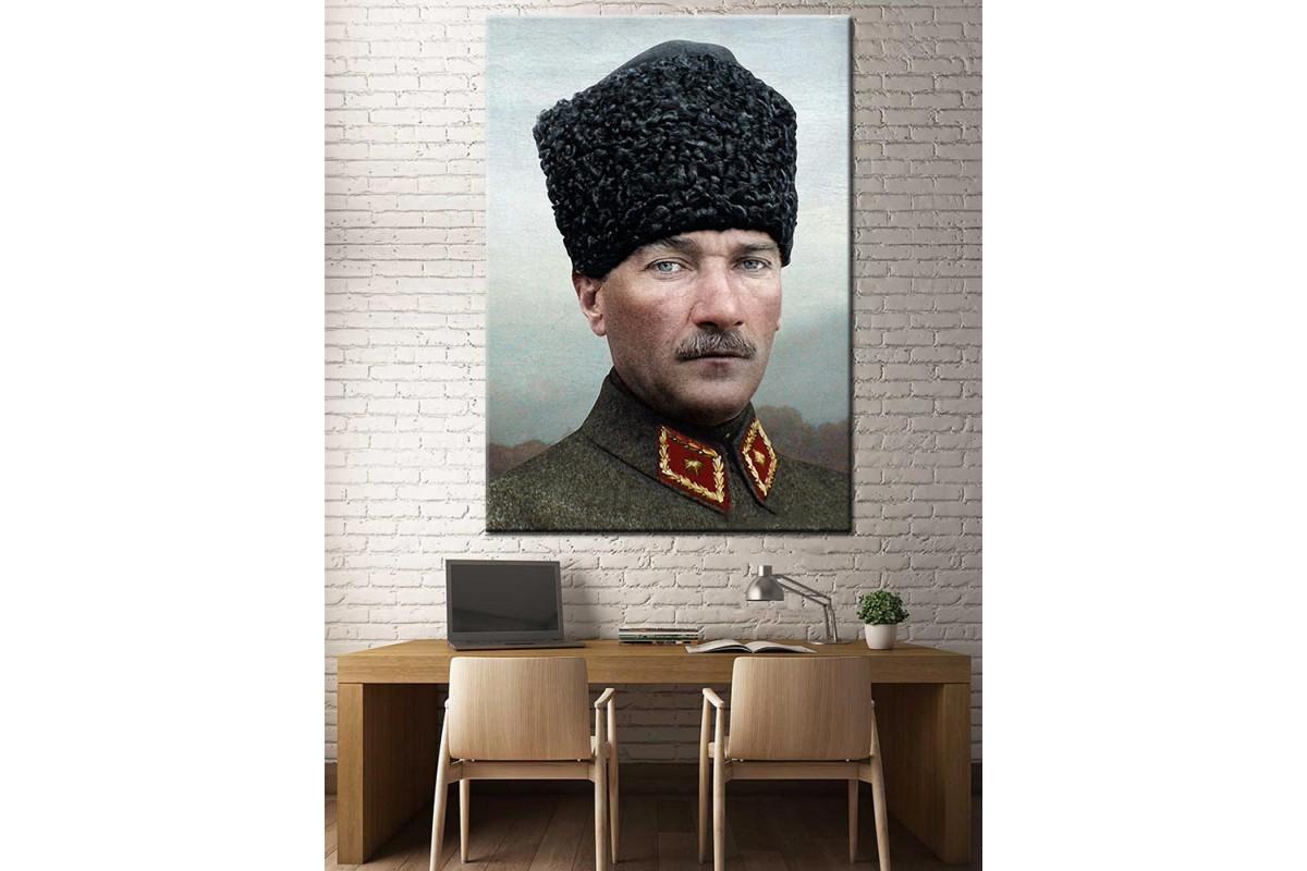 Atatürk Kalpak Ünüforma Renklendirme Özel Seri Kanvas Tablo dkm-k64-12