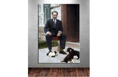 Atatürk ve Yavru Köpekler Renklendirme Özel Seri Kanvas Tablo dkm-k64-7