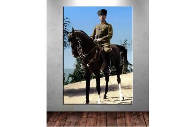 Atatürk At Sırtında Renklendirme Özel Seri Kanvas Tablo dkm-k64-8