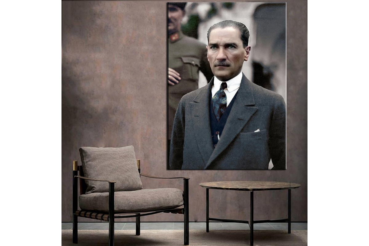 Atatürk Takım Elbise Renklendirme Özel Seri Kanvas Tablo dkm-k64-9