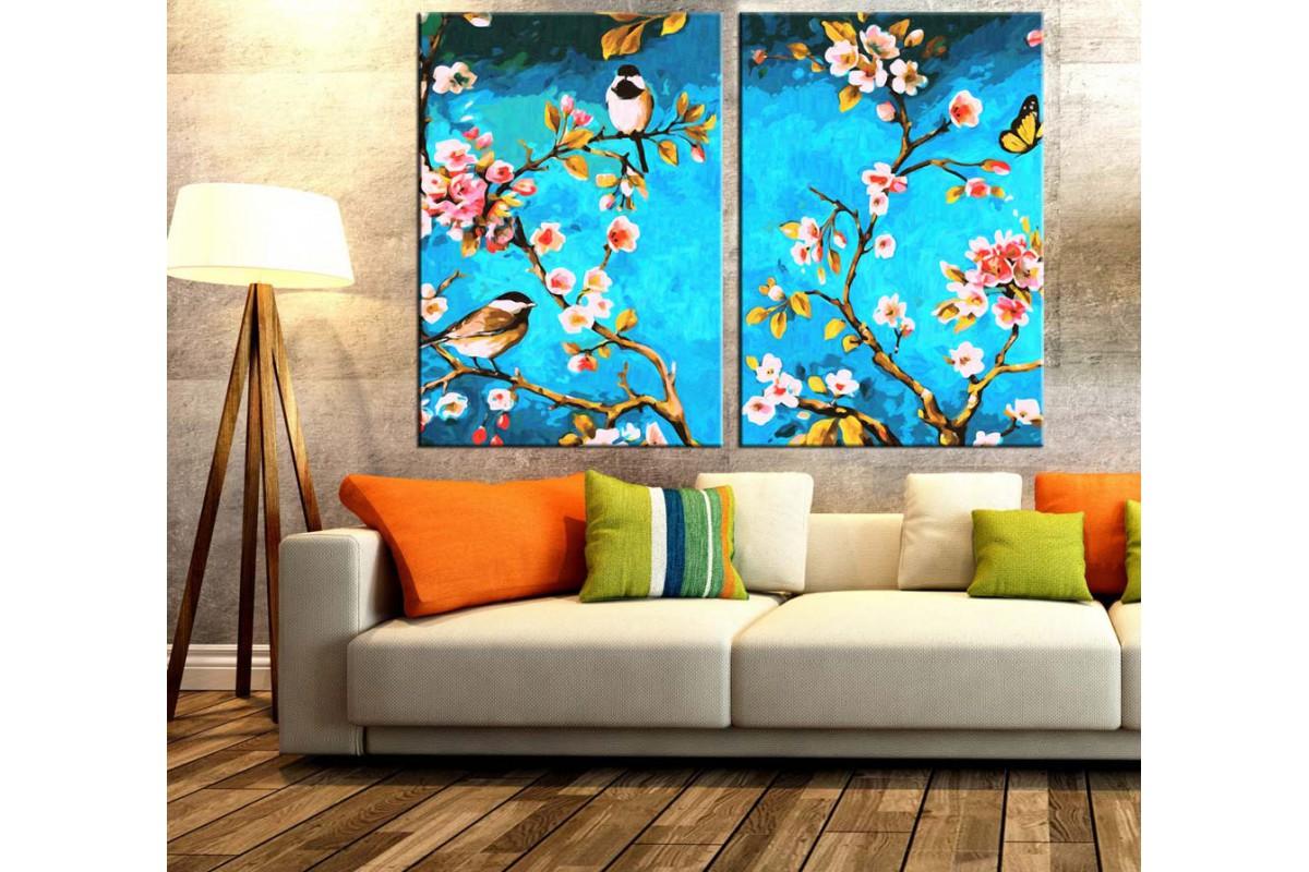 Kuşlar Çiçekler ve Dallar Renkli 2 Parça Kanvas Tablo dkm-k66-21-22