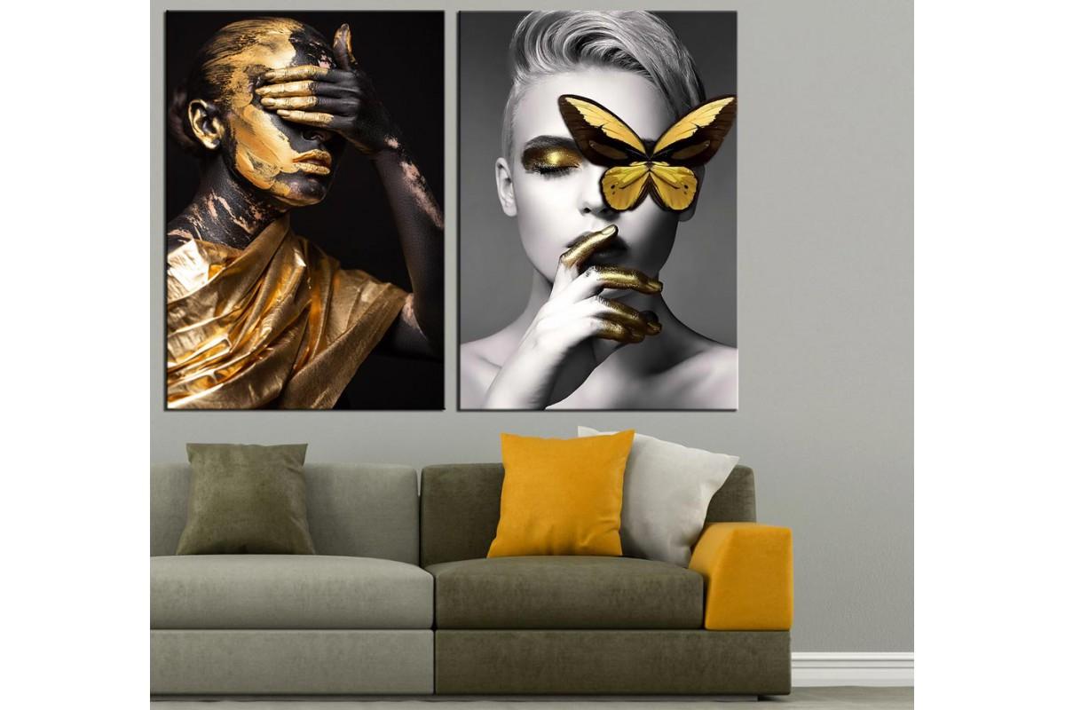 Kadınlar ve Kelebek Altın ve Sarı 2 Parça Kanvas Tablo dkm-k66-6-13