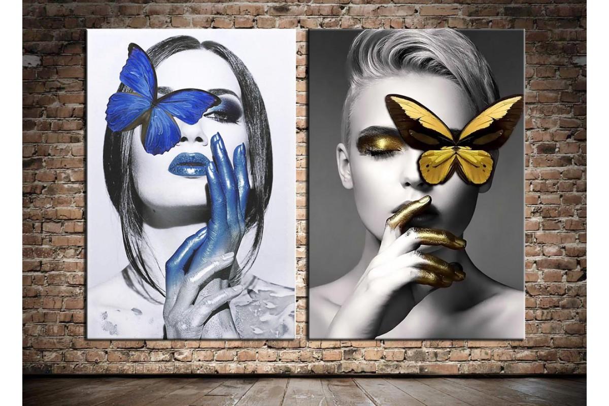 Kadınlar ve Kelebekler Mavi ve Sarı 2 Parça Kanvas Tablo dkm-k66-6-7
