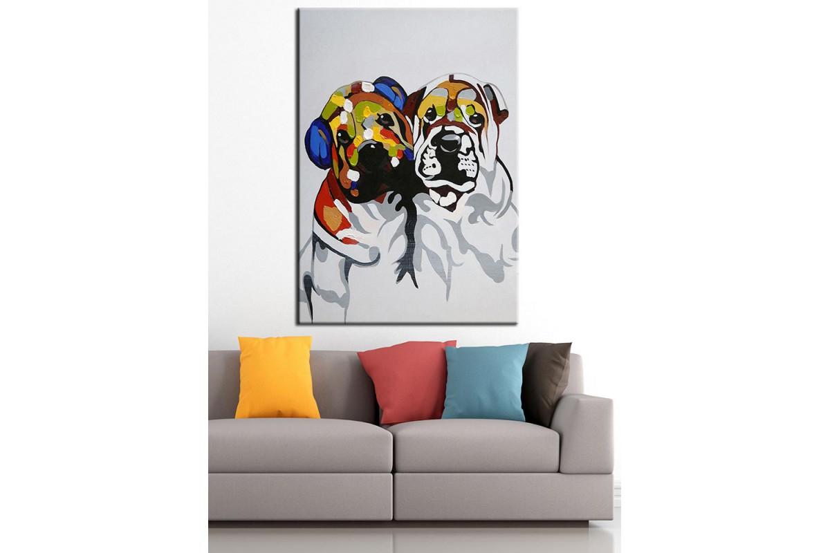 Cici Köpekler Yağlı Boya Görünüm Kanvas Tablo dkm-k67-1