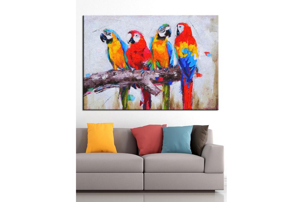 Kuşlar Yağlı Boya Görünüm Kanvas Tablo dkm-k67-3