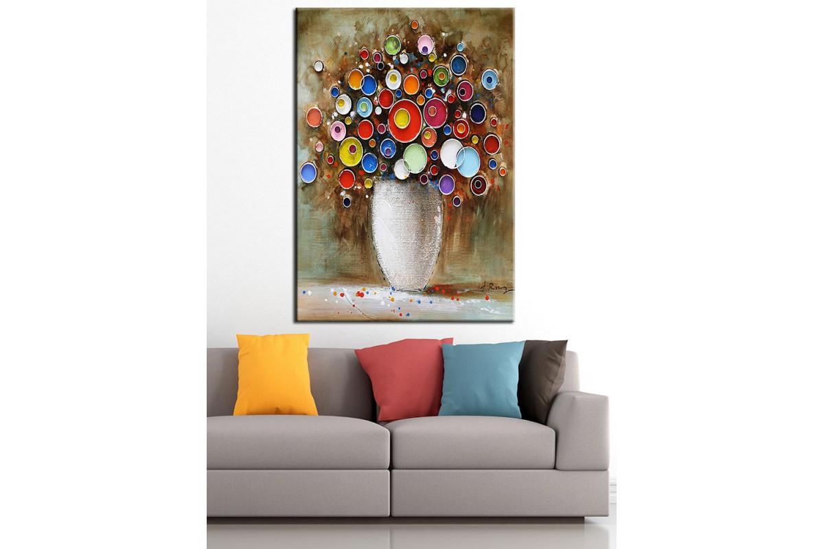 Vazodaki Çiçekler Yağlı Boya Görünüm Kanvas Tablo dkm-k67-5