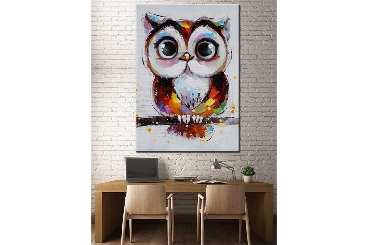 Sevimli Baykuş Yağlı Boya Görünüm Kanvas Tablo dkm-k67-6