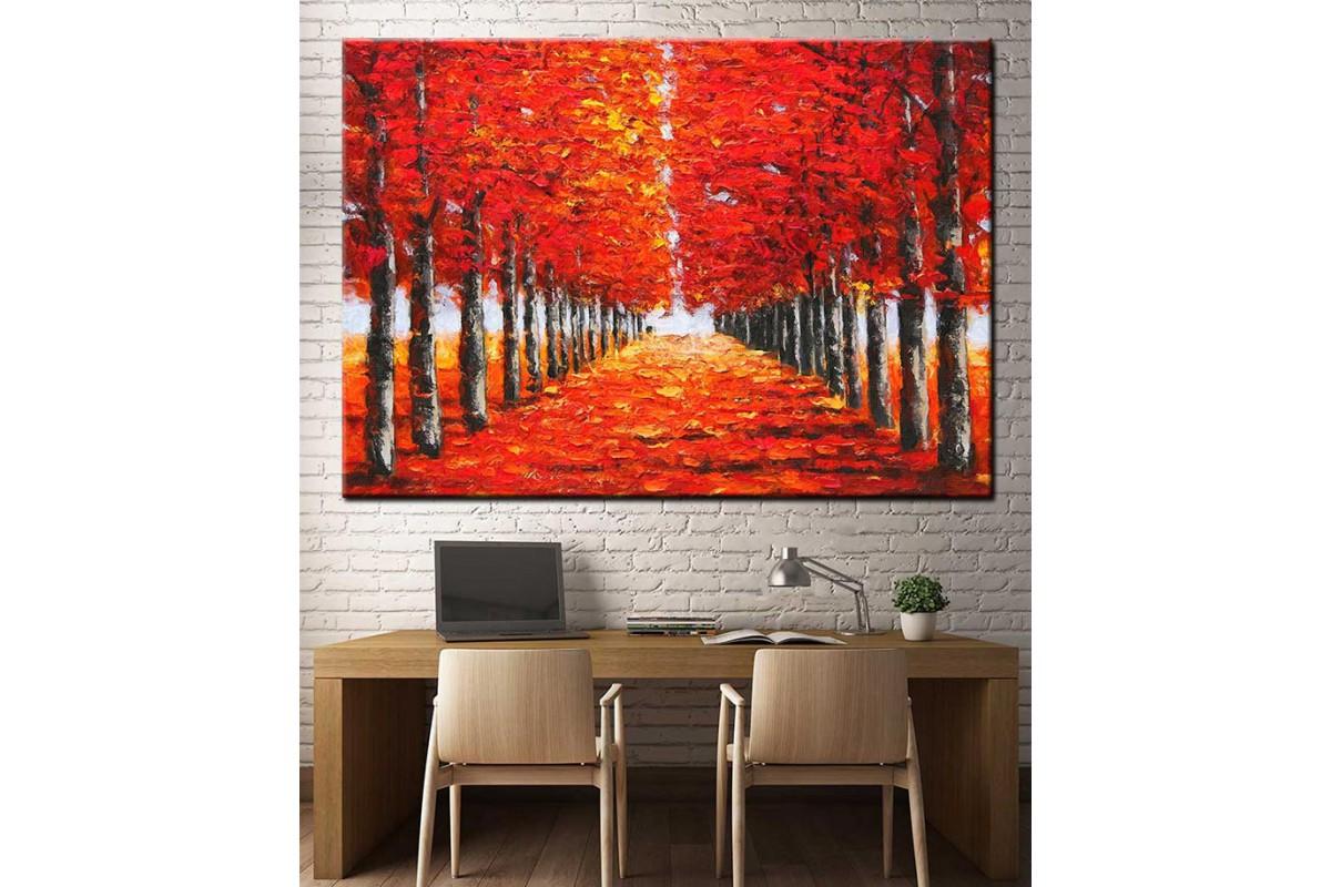 Ağaçlı Yol Yağlı Boya Görünüm Kanvas Tablo dkm-k67-7