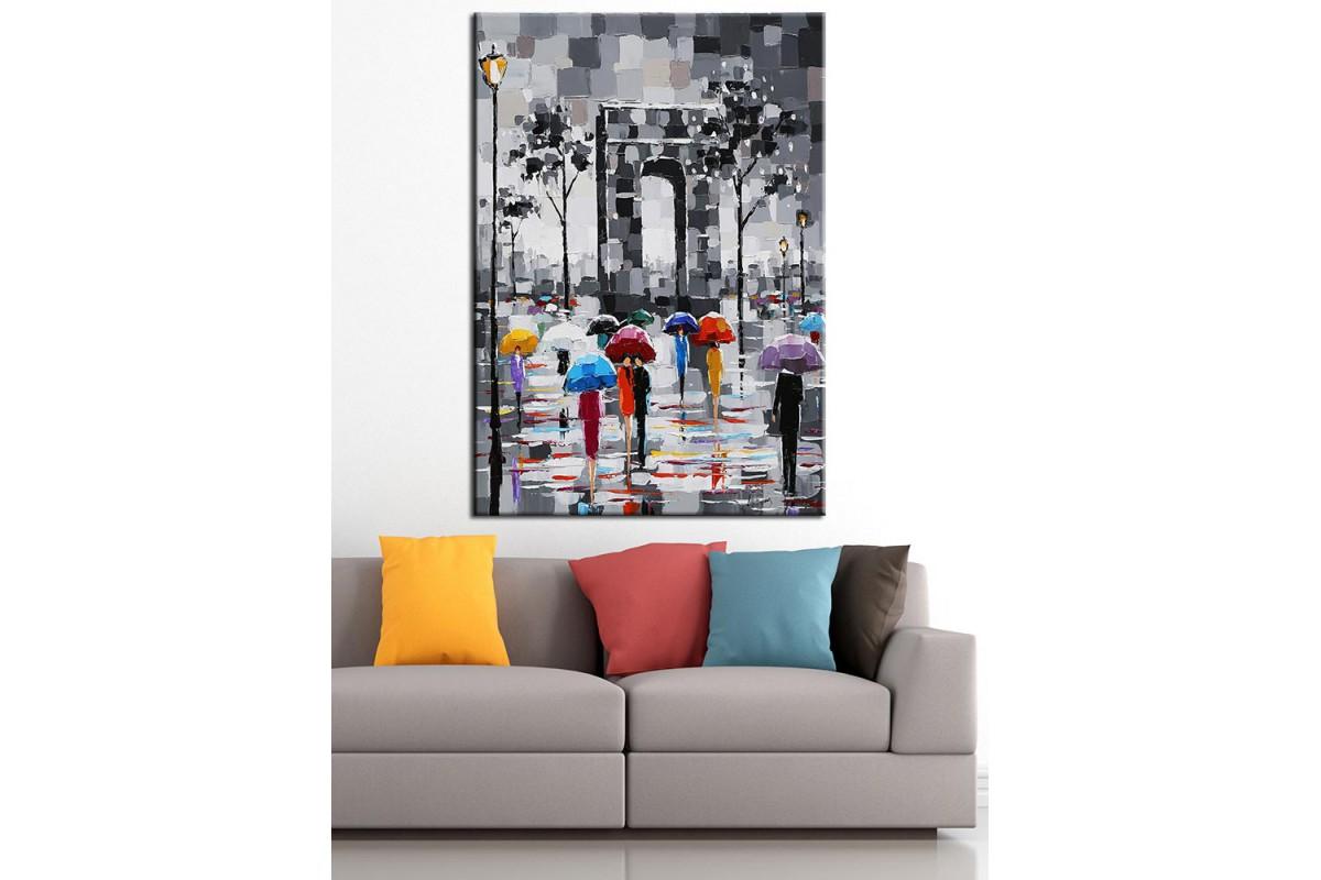 Paris Zafer Meydanı Yağlı Boya Görünüm Kanvas Tablo dkm-k67-9