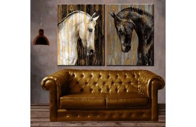 Siyah ve Beyaz Atlar 2 Parça Kanvas Tablo dkm-k68-31-32