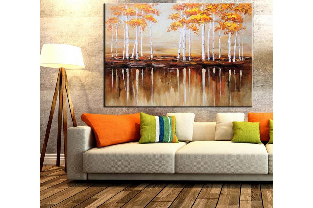 Ağaçlar Yağlı Boya Görünümlü Kanvas Tablo k68-11