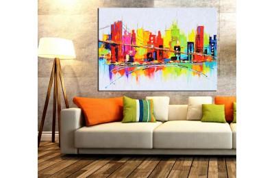 Renkli Şehir Silüet Yağlı Boya Görünüm Tablo k68-14