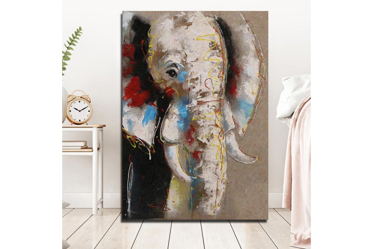 Renkli Fil Yağlı Boya Görünüm Kanvas Tablo k68-15