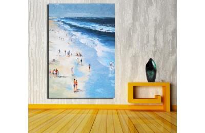 Plajda Yağlı Boya Görünüm Kanvas Tablo k68-16