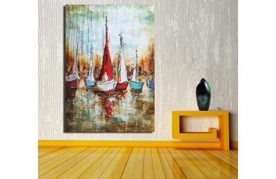 Sahilde Tekneler Yağlı Boya Görünüm Kanvas Tablo k68-17