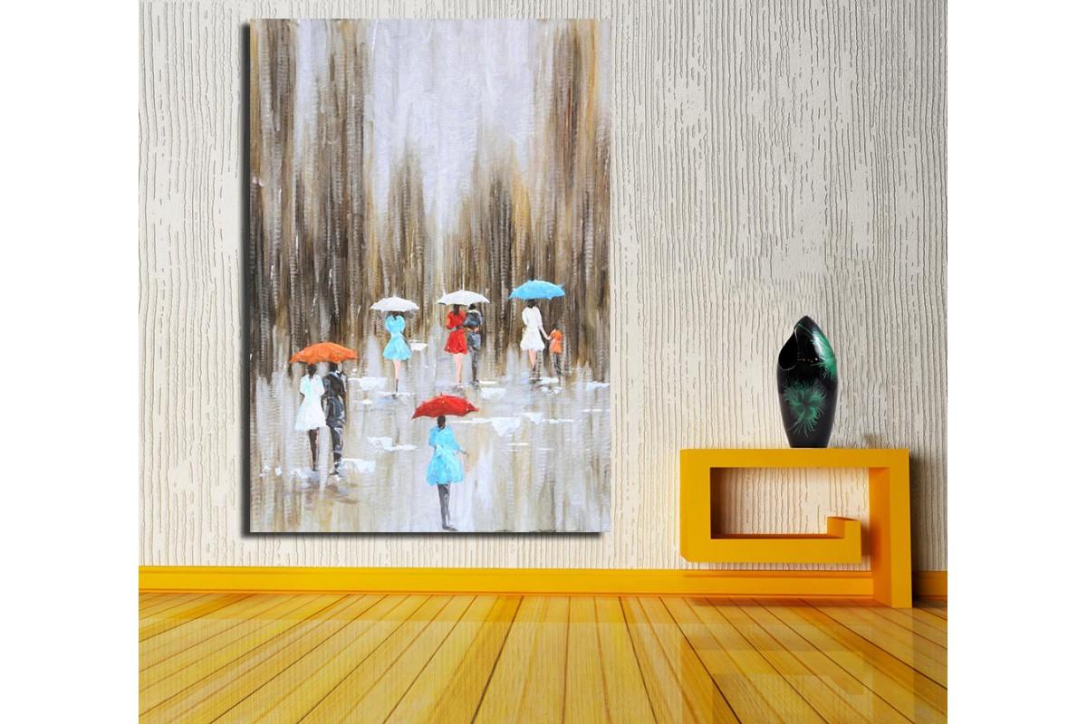 Yağmurlu Gün Yağlı Boya Görünüm Kanvas Tablo k68-18