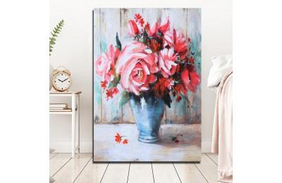 Pembe Güller Yağlı Boya Görünüm Kanvas Tablo k68-19