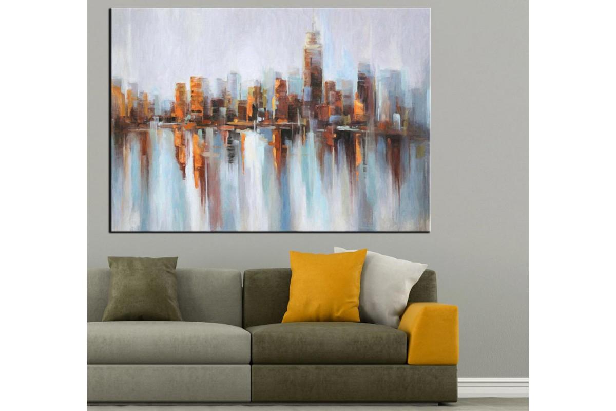 Şehir Gökdelenler Yağlı Boya Görünüm Kanvas Tablo k68-21