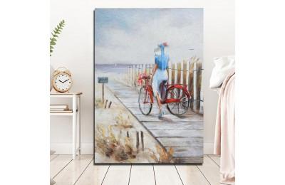 Bisikletli Kadın Yağlı Boya Görünüm Kanvas Tablo k68-24
