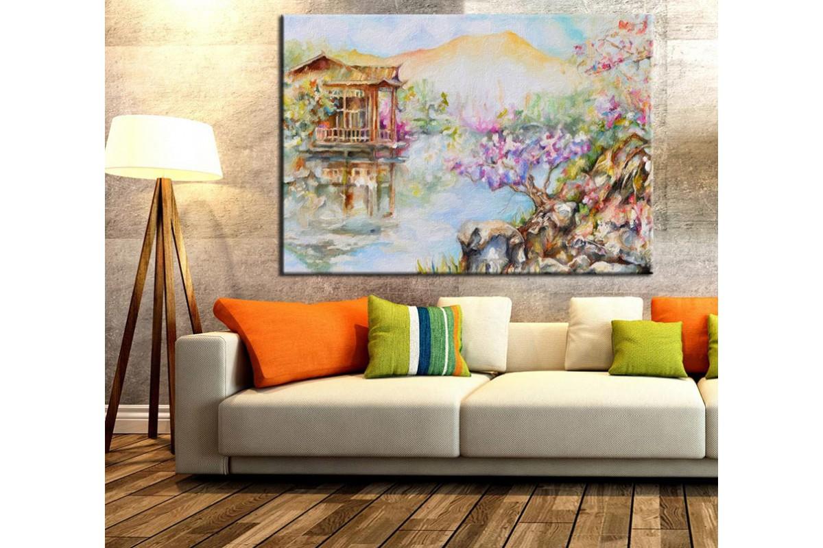 Göldeki Ev Yağlı Boya Görünümlü Kanvas Tablo k68-3