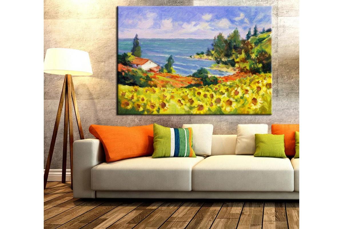 Ay Çiçekleri ve Deniz Yağlı Boya Görünümlü Kanvas Tablo k68-4