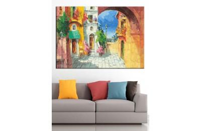 Sokak Yağlı Boya Görünüm Kanvas Tablo dkm-k71-1