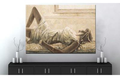 Beyazlı Kadın Kanvas Tablo dkm-k71-10