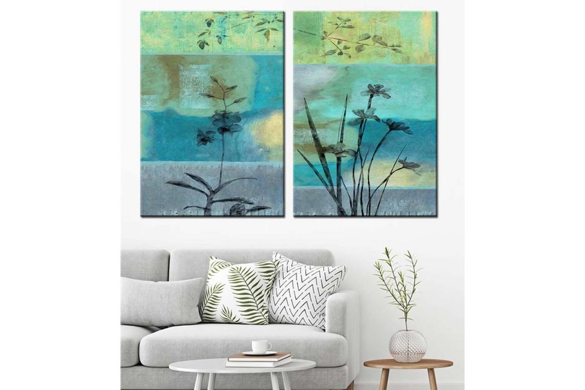 Mavi Gri Çiçek ve Dallar Yağlı Boya Görünüm 2 Parça Kanvas Tablo dkm-k71-14-15