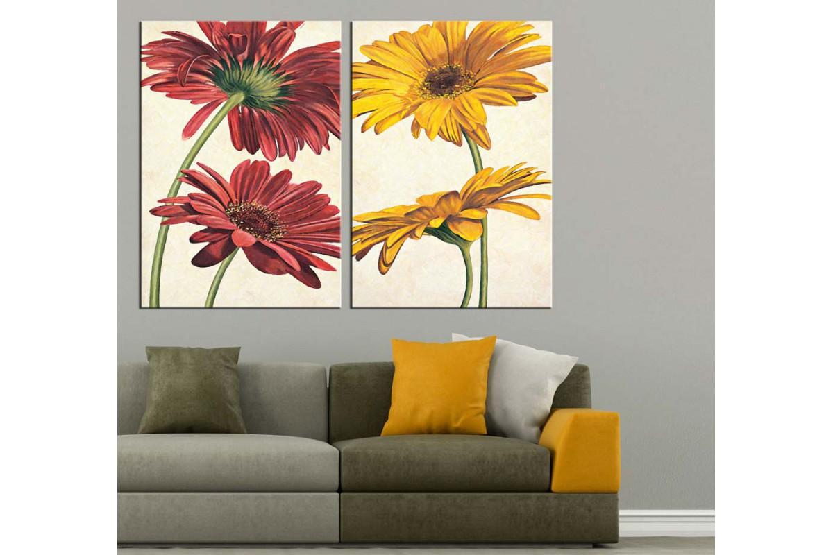 Kırmızı ve Sarı Çiçekler Yağlı Boya Görünüm 2 Parça Kanvas Tablo dkm-k71-24-25