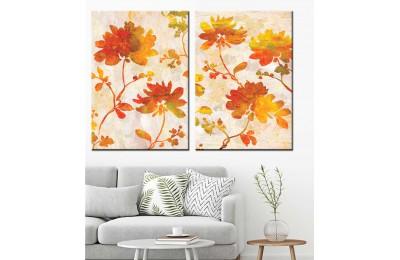 Kırmızı ve Sarı Dallar Çiçekler Yağlı Boya Görünüm 2 Parça Kanvas Tablo dkm-k71-42-43