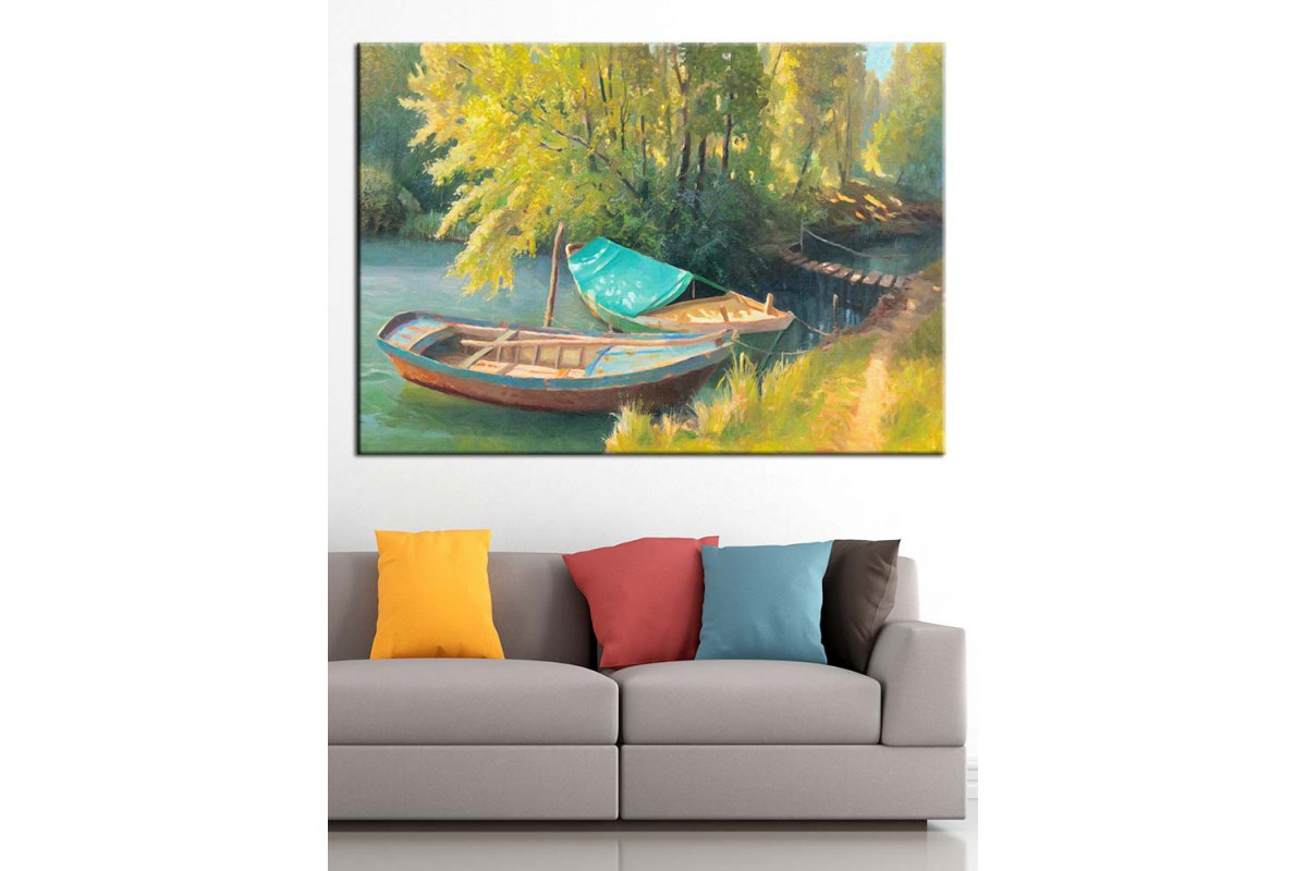 Göl Kenarı Kayıklar Yağlı Boya Görünüm Kanvas Tablo dkm-k71-6