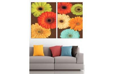 Rengarenk Çiçekler Yağlı Boya Görünüm 2 Parça Kanvas Tablo dkm-k71-69-70