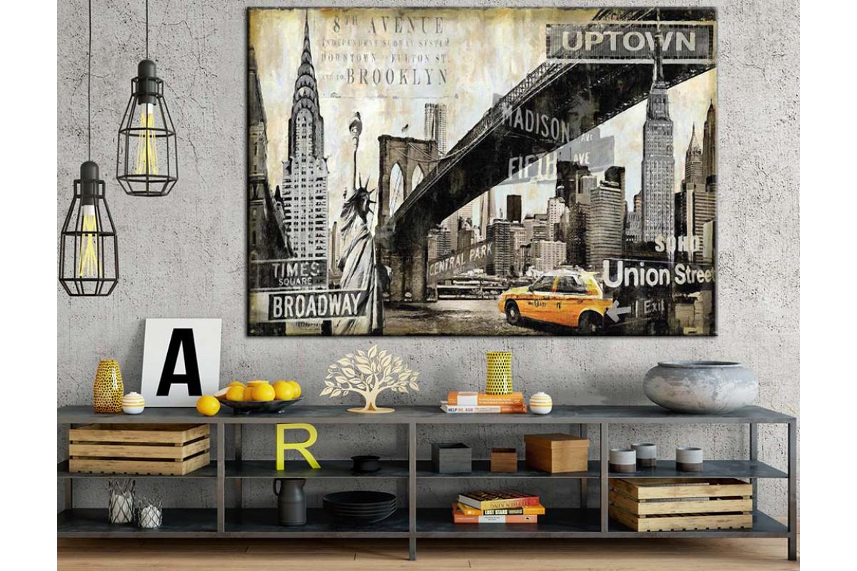 Şehir Görünüm Amerika Broadway Kanvas Tablo dkm-k71-9