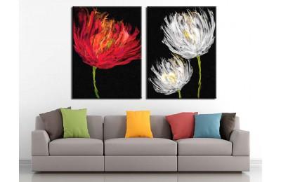 Kırmızı ve Beyaz Çiçekler Yağlı Boya Görünüm 2 Parça Kanvas Tablo dkm-k71-k1-1-4
