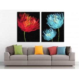 Kırmızı ve Mavi Çiçekler Yağlı Boya Görünüm 2 Parça Kanvas Tablo dkm-k71-k1-1-6